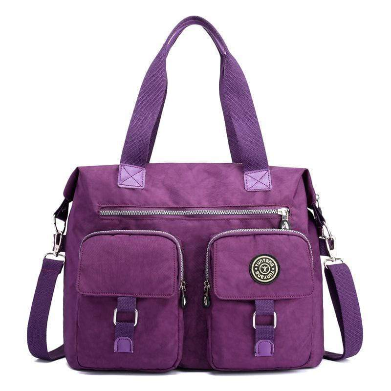 Obangbag Purple Women Large Capacity Travel Handbag Anti Splashing Water Ladies Shoulder Bag