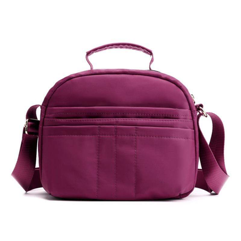 Obangbag Purple Women Multi Pockets Waterproof Nylon Shoulder Bag Lightweight Handbag Mummy Bag