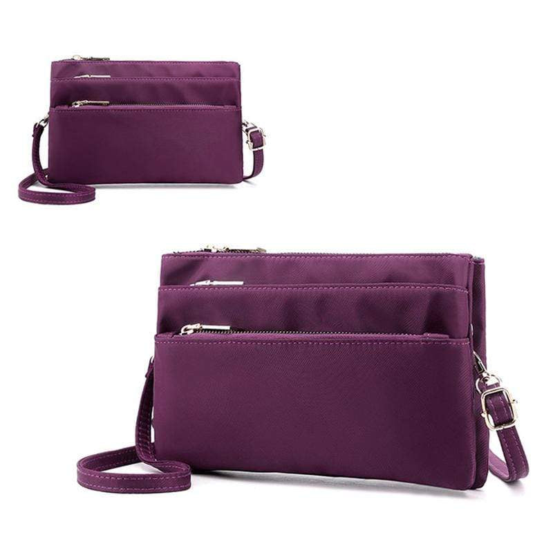 Obangbag Purple Women Simple Lightweight Multi Layers Daily Multi Pockets Nylon Shoulder Bag Crossbody Bag