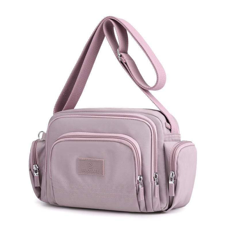 Obangbag Purple Women Simple Multi Pockets Multifunction Lightweight Waterproof Nylon Shoulder Bag Crossbody Bag