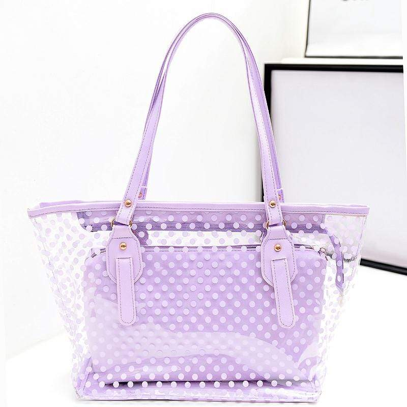 Obangbag Purple Women Stylish Street  Large Capacity Clear Transparent Plastic PU Leather Tote Bag Shoulder Bag Bag Set