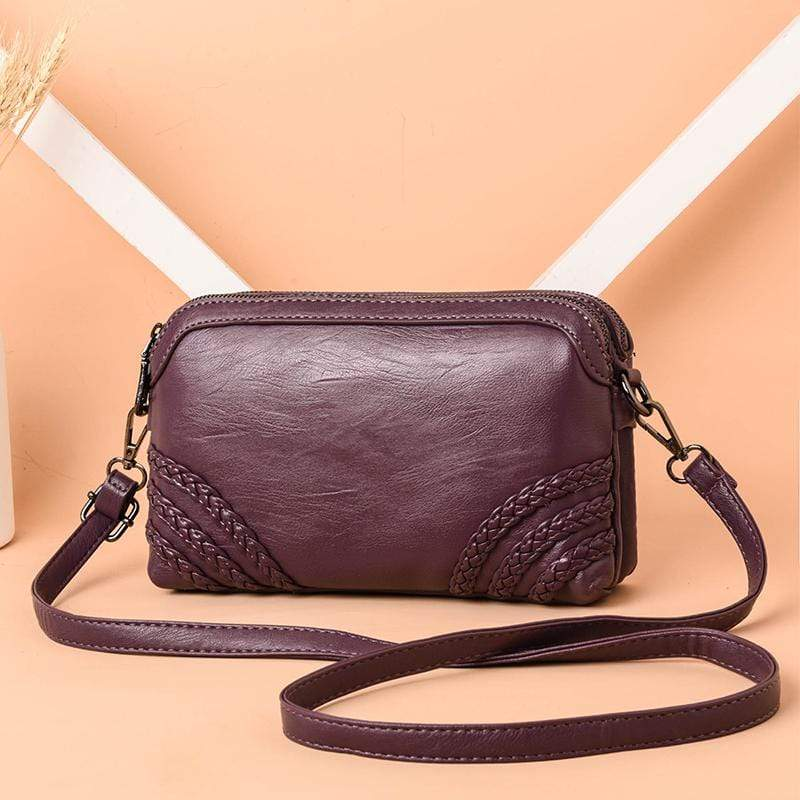 Obangbag Purple Women Vintage Cute Mini Roomy Professional Soft Leather Crossbody Bag Shoulder Bag