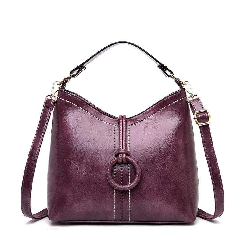Obangbag Purple Women Vintage Elegant Large Capacity Lightweight Oil Wax Leather Bucket Bag Handbag Crossbody Bag