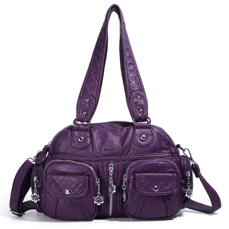 Obangbag Purple Women Vintage Fashion Professional Multi Pockets Roomy Soft Leather Shoulder Bag Crossbody Bag