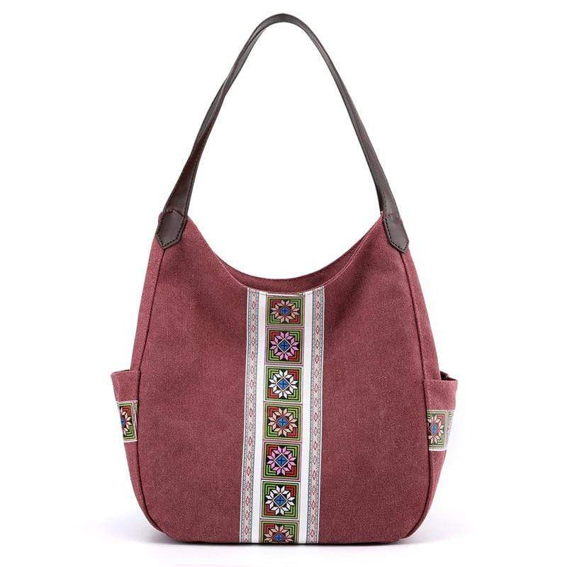 Obangbag Purple Women Vintage Multi Pockets Multi Layers Printed Roomy Canvas Tote Bag Handbag