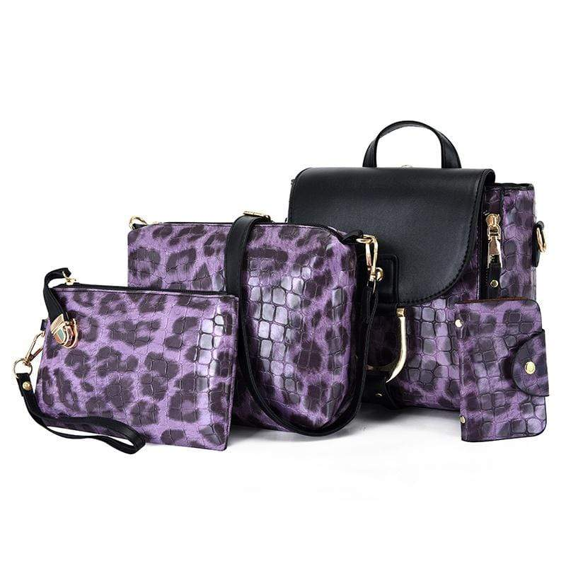 Obangbag Purple Women Vintage Multifunction Roomy Leopard Pattern Leather Bag Set Backpack Crossbody Bag Purse