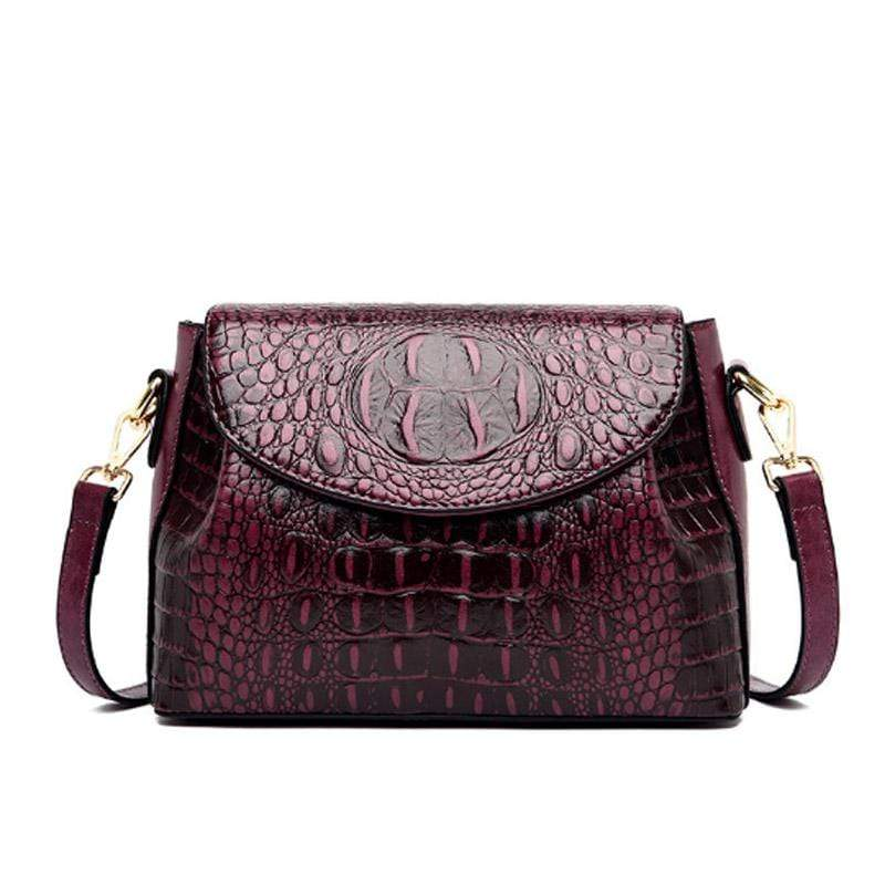 Obangbag Purple Women Vintage Retro Chic Stylish Crocodile Leather Crossbody Bag Shoulder Bag