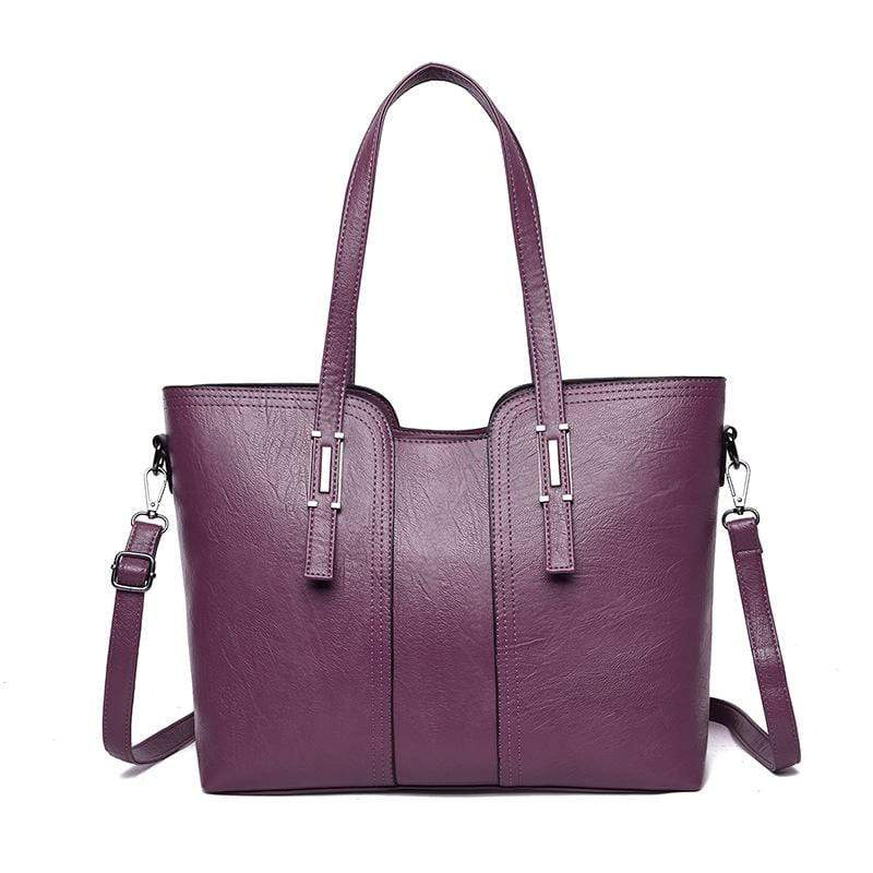 Obangbag Purple Women Vintage Stylish Large Capacity Professional Soft Leather Handbag Shoulder Bag Crossbody Bag for Work