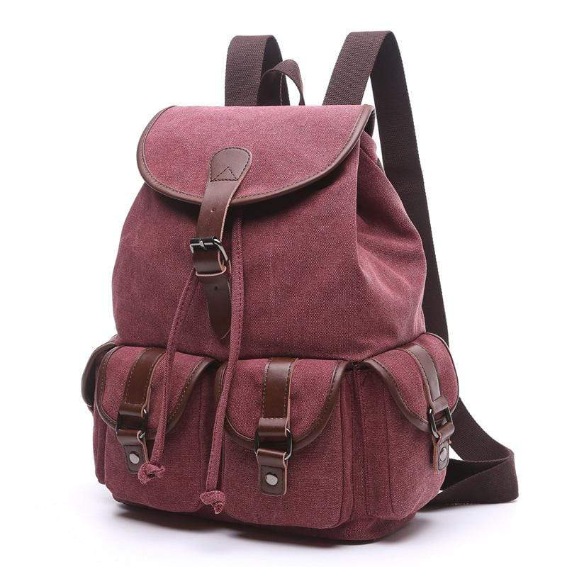 Obangbag Purplish Red / Large Women Chic Multi Pockets Large Capacity Canvas Backpack for School for Traval