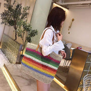 Obangbag Rainbow Women Rainbow Color Straw Woven Beach Large Tote Bag