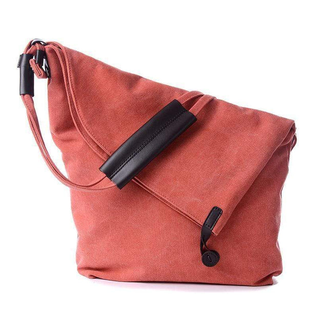 Obangbag Red Canvas & Leather Large Capacity Lightweight Crossbody Bag