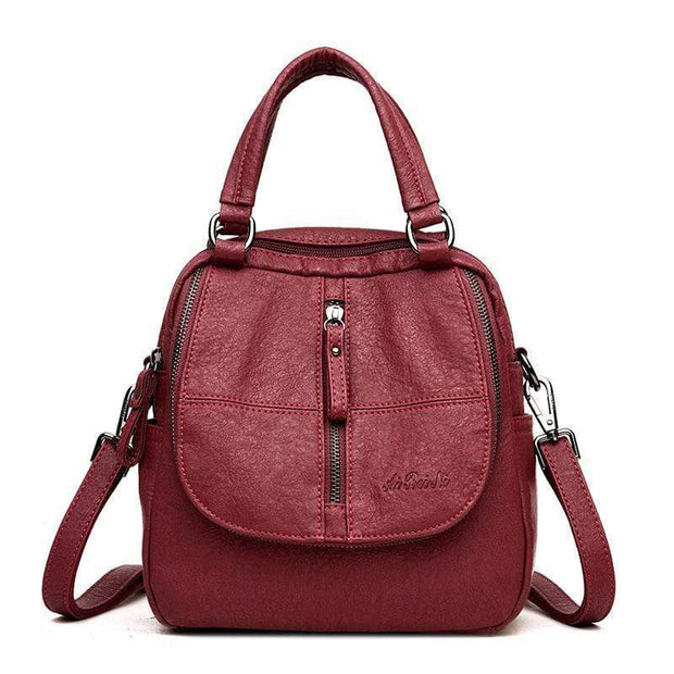 Obangbag Red Double Layer Side Pockets Leather Backpack For Women