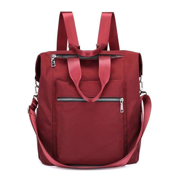 Obangbag Red Ladies Multi Function Big Waterproof Cloth Tote Work Backpack