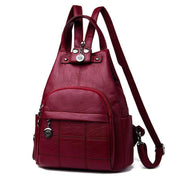 Obangbag red Ladies Outdoor With Lots Of Pockets Leather Backpack