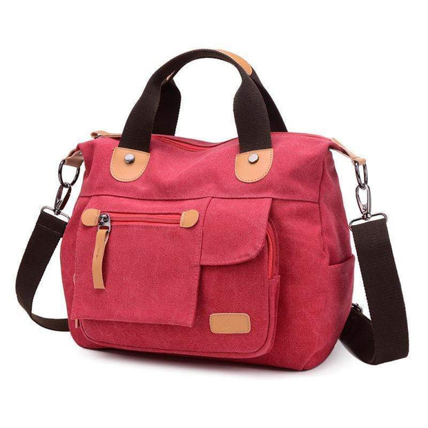 Obangbag Red Large Capacity Shoulder Bag Travel Bag Canvas Bag
