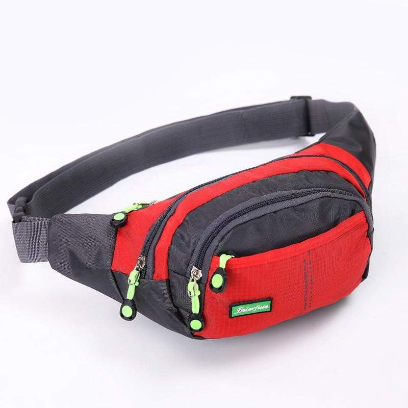 Obangbag Red Men Large Capacity Multi Pockets Sports Multifunction Outdoors Nylon Waterproof Fanny Pack