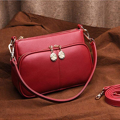 Obangbag Red Minimalistic Design Multi-layer Zipper Sling Shoulder Bag