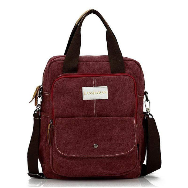 Obangbag Red Multi Function Unisex Canvas Messenger Bag Backpack