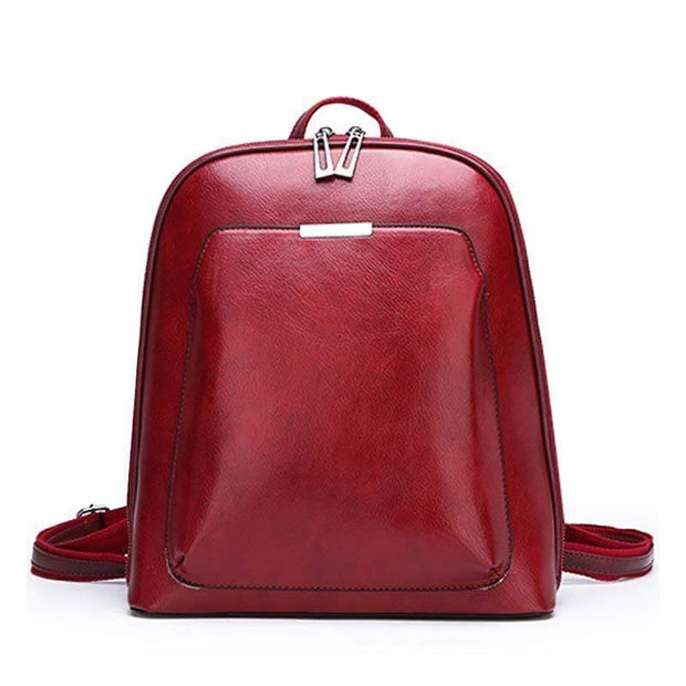 Obangbag Red Multi Pockets Retro Vintage Oil Wax Leather Women Travel Computer Laptop Large Backpack