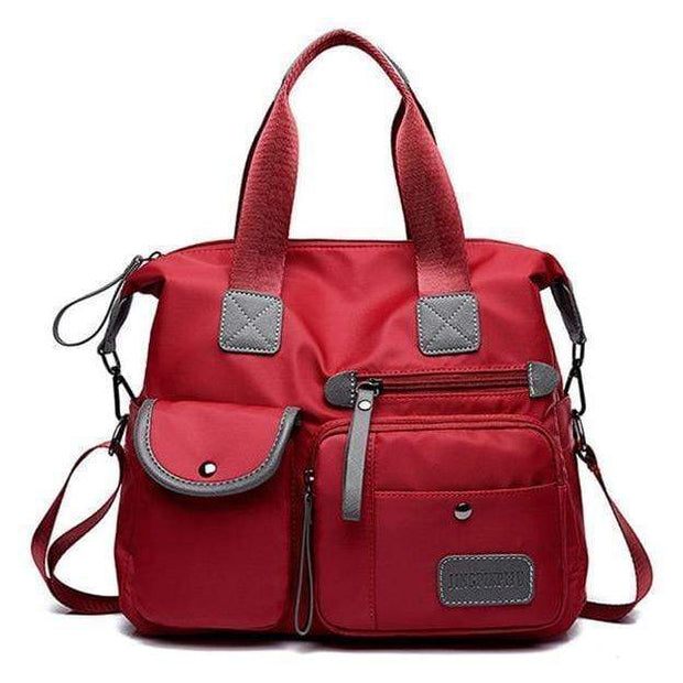 Obangbag Red Multi Purpose Nylon Casual Handbag Roomy Daily Bag