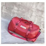 Obangbag Red Portable Leather Waterproof Notebook Travel Bag Fitness Bag