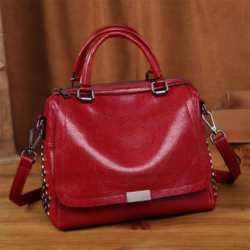 Obangbag Red Retro Vintage Anti theft Leather Messenger Handbag Shoulder Bag
