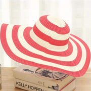 Obangbag Red Striped Sun Hat Women Overflowed Floppy Sun hats