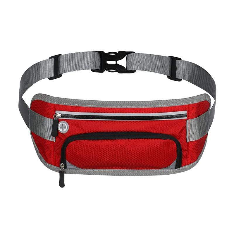 Obangbag Red Unisex Large Capacity Earphone Access Outdoor Waterproof Fanny Pack Waist Bag for Sport