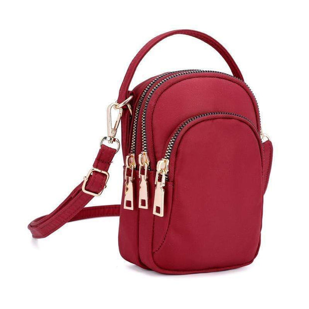 Obangbag Red Waterproof Multi Function MINI Women's Handbag Crossbody Bag Phone Bag