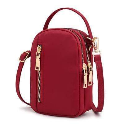 Obangbag Red Waterproof Nylon Women Phone Bags Waist Bag Crossbody Bag