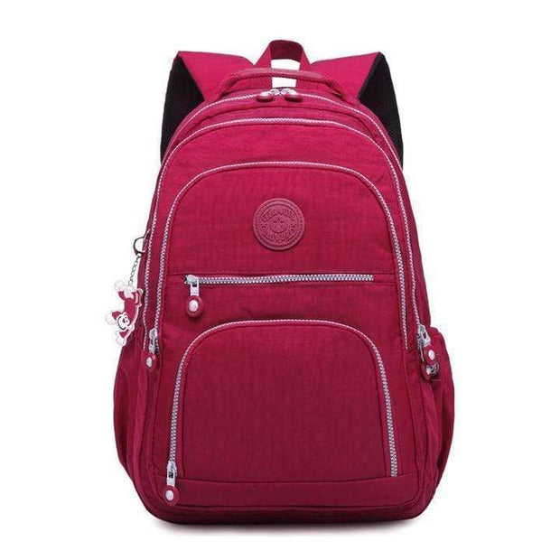 Obangbag Red Waterproof Travel Backpack Multi Pocket Washed School Bag