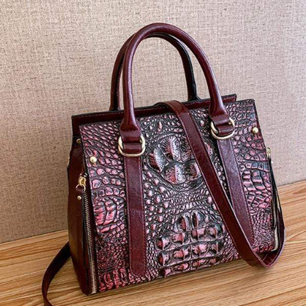 Obangbag Red Woman Crocodile Leather Large Capacity Shoulder Messenger Bag