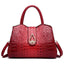 Obangbag Red Woman crocodile pattern women shoulder bag soft leather cross-body bag handbag