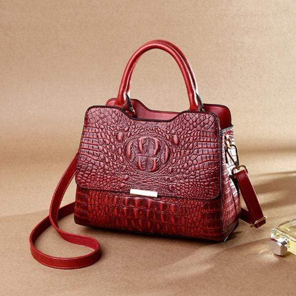 Obangbag Red Woman European and American fashion crocodile leather large capacity portable briefcase