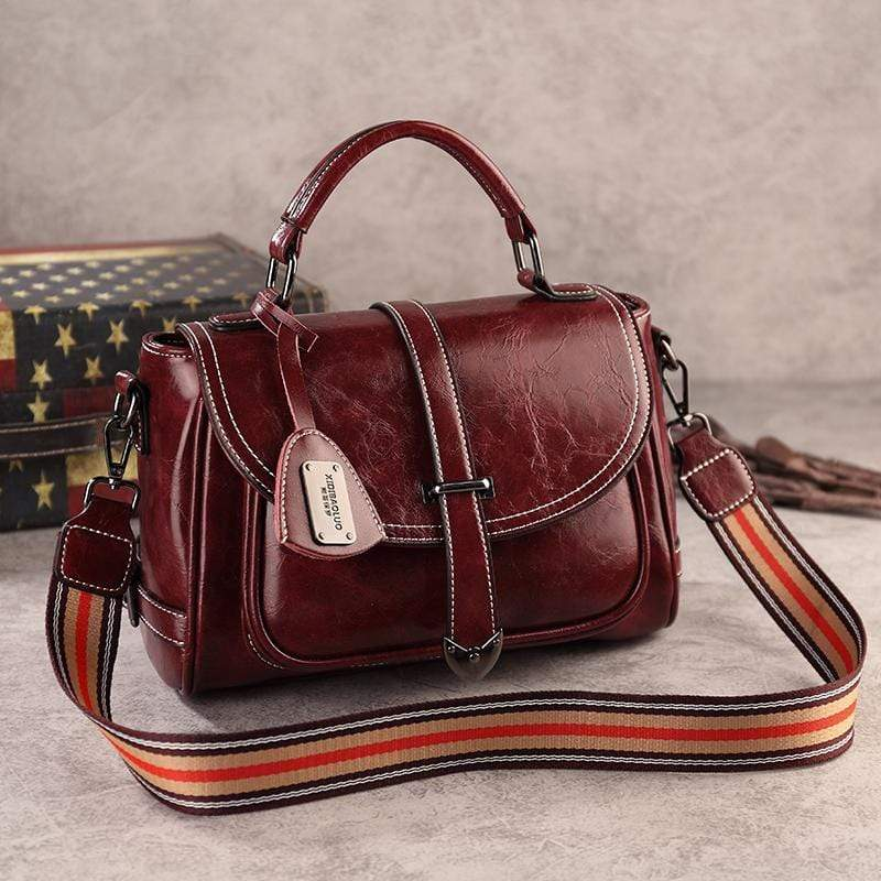 Obangbag Red Woman Vintage Leather Multi Pocket Handbag