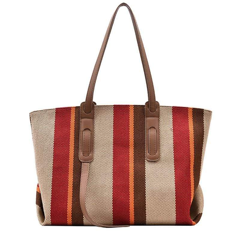 Obangbag Red Women Big Colorful Large Capacity Striped Canvas Leather Tote Bag Handbag
