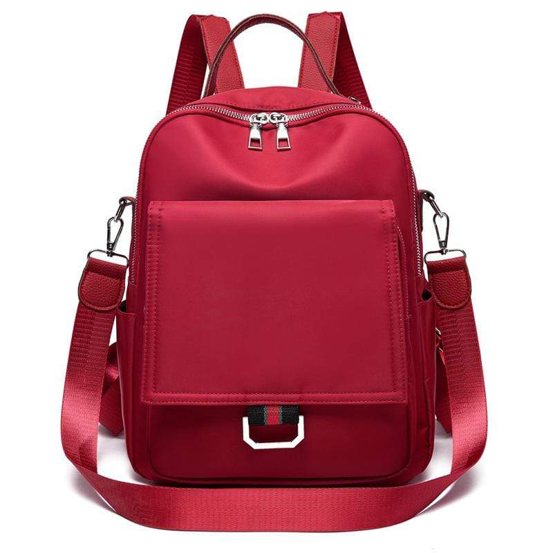 Obangbag Red Women Casual Large Capacity Multifunction Oxford Backpack Shoulder Bag Handbag for Travel for School