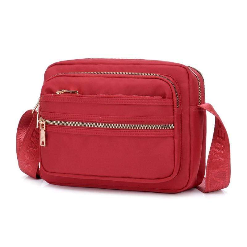 Obangbag Red Women Chic Casual Cute Large Capacity Waterproof Nylon Crossbody Bag for Work
