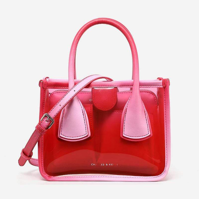 Obangbag Red Women Chic Cute Lightweight Colorful Transparent Clear Plastic Handbag Crossbody Bag Bag Set