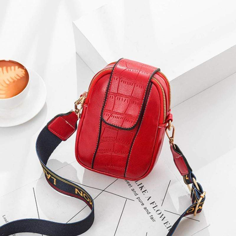Obangbag Red Women Chic Cute Mini PU Leather Crossbody Bag Shoulder Bag Phone Bag