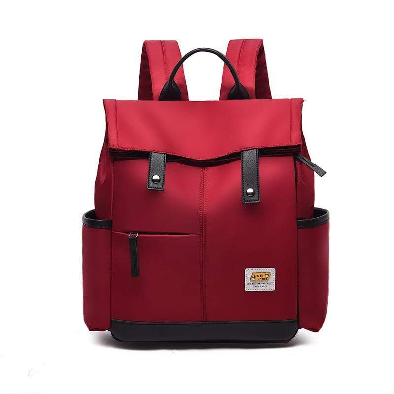 Obangbag Red Women Chic Foldable Large Capacity Multifunction Oxford Backpack Bookbag for School