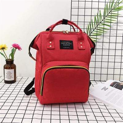 Obangbag Red Women Chic Large Capacity Multi Pockets Multifunction Nylon Backpack for School for Daily