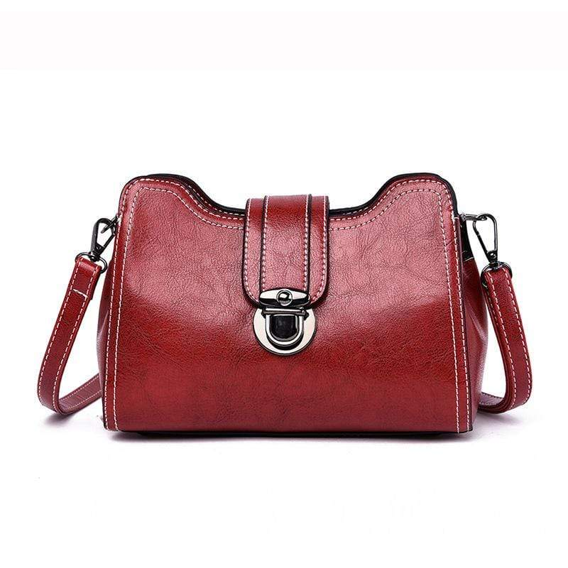 Obangbag Red Women Chic Mini Anti-theft Roomy Multi Pockets Square Leather Crossbody Bag Shoulder Bag