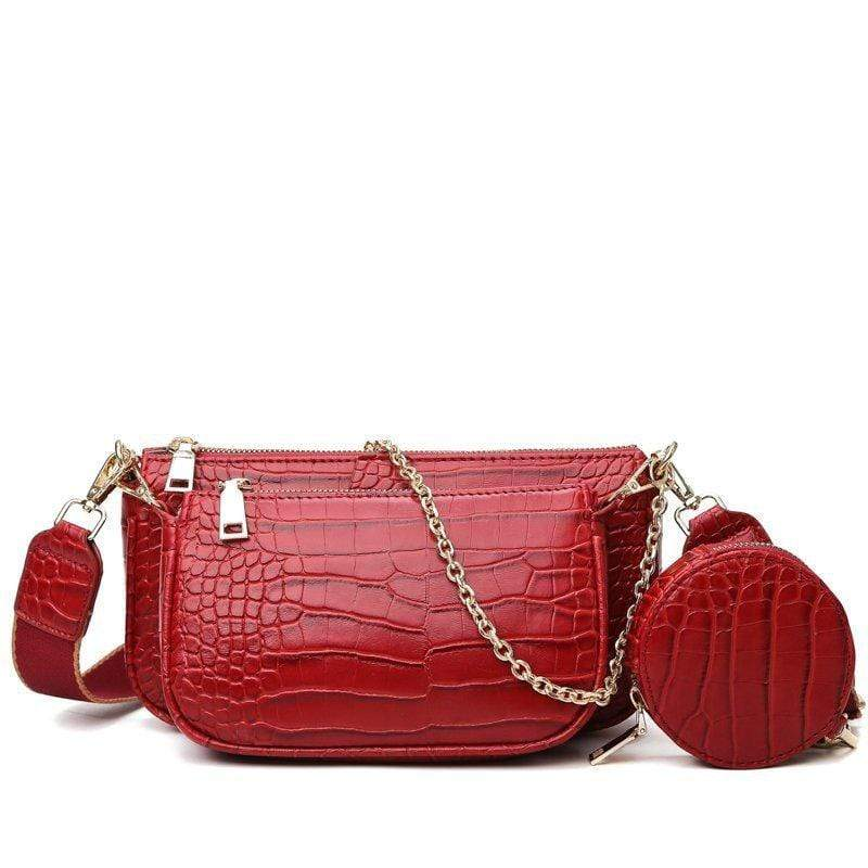 Obangbag Red Women Chic Street Multifunction Multi Pockets Crocodile Pattern Leather Bag Set Underarm Bag Crossbody Bag