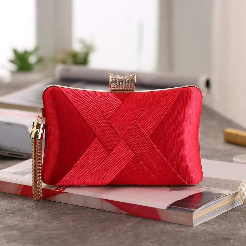Obangbag Red Women Chic Stylish Fringed Polyester Evening Purse Clutch Bag