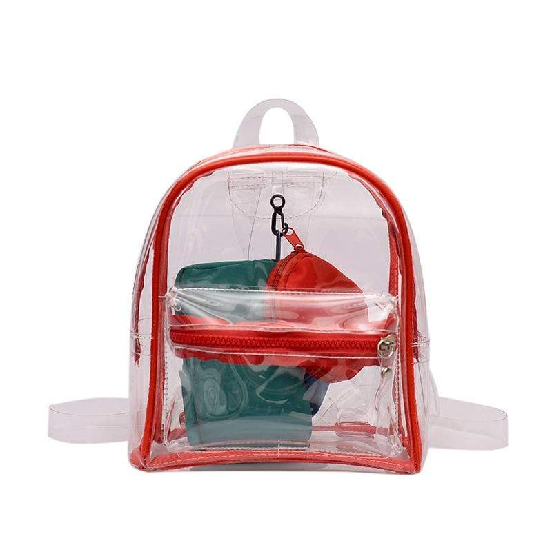 Obangbag Red Women Chic Summer See Through Clear Transparent Plastic PVC Backpack Bag Set Beach Bag