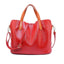 Obangbag Red Women Chic Vintage Large Capacity Multifunction Casual Soft Leather Tote Bag Handbag