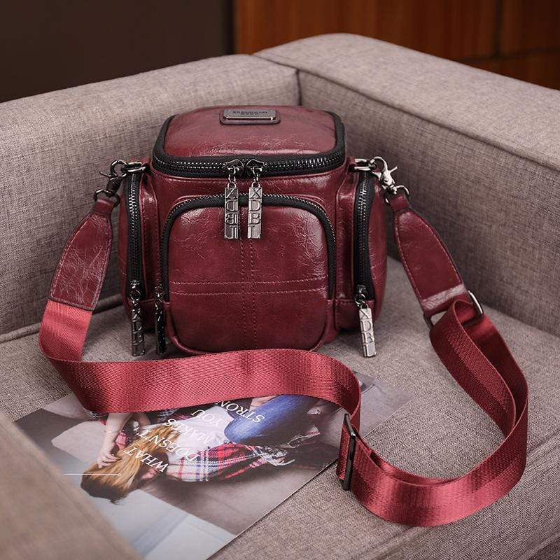 Obangbag Red Women Chic Vintage Multifunction Multi Pockets Square Oil Wax Leather Shoulder Bag Crossbody Bag