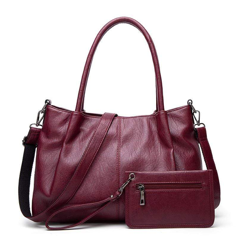 Obangbag Red Women Chic Vintage Multifunction Roomy Anti-theft Leather Tote Bag Bag Set  Purse for Work