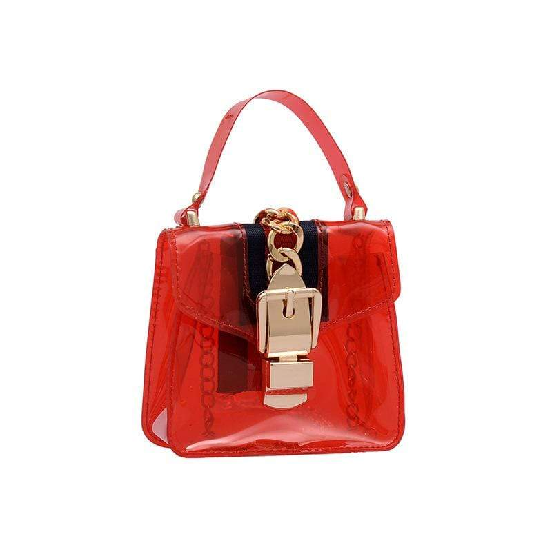 Obangbag Red Women Cute Girl Street Mini Transparent Plastic Clear Handbag Crossbady Bag Beach Bag